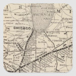 Map Wabash Railway Square Sticker