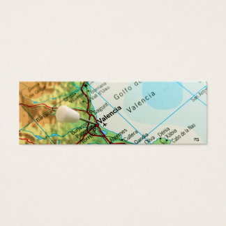 Map with pin pointing to city of Valencia in Spain Mini Business Card