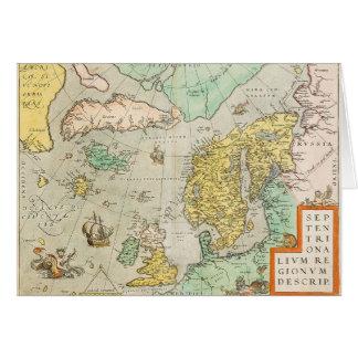 Map with Sailing Ships Greeting Card