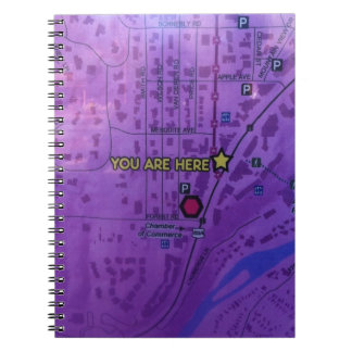 map, you are here sign, notebook