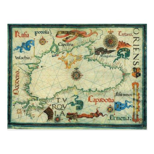 Mapa 1559 del Mar Negro Tarjetas Postales