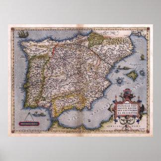 Mapa 1570 del renacimiento de España Posters