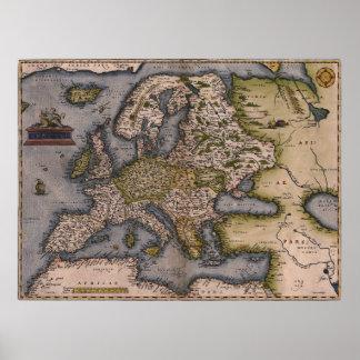 Mapa 1572 de Europa Posters