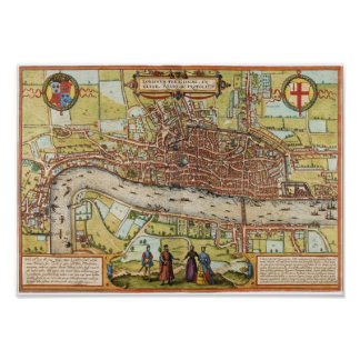 Mapa 1572 de Londres Poster