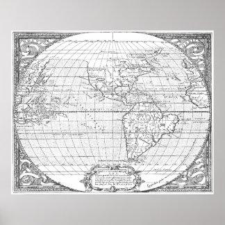 Mapa 1587 de América Poster