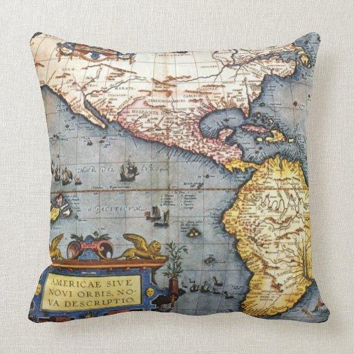 Mapa 1587 de las Américas Cojín
