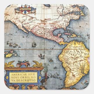 Mapa 1587 de las Américas Pegatina Cuadrada