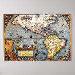 Mapa 1587 de las Américas Póster
