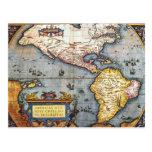 Mapa 1587 de las Américas Tarjeta Postal