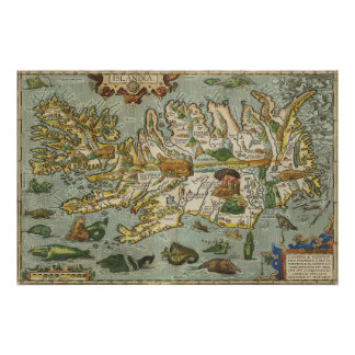 Mapa 1590 de Islandia Posters