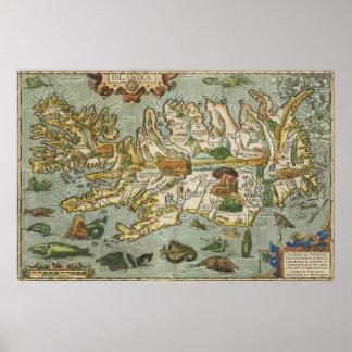 Mapa 1590 de Islandia Póster