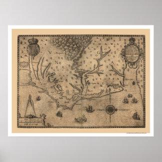 Mapa 1590 de Virginia de la bahía de Chesapeake Poster