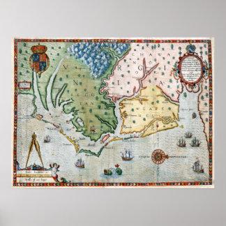 Mapa 1590 de Virginia Posters