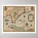 Mapa 1591 de Cuba y de la Florida Poster