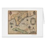 Mapa 1591 de Cuba y de la Florida Tarjetas