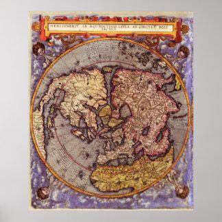 Mapa 1593 de N. Hemisphere Posters