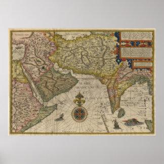 Mapa 1596 de Asia meridional Impresiones