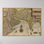 Mapa 1596 de Asia meridional Póster
