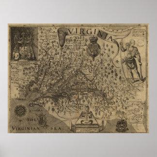 Mapa 1606 de Virginia Póster