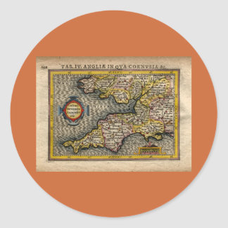 Mapa 1610 de Cornualles, de Devon, de Somerset, Pegatina Redonda