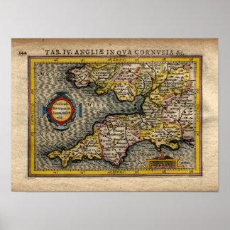 Mapa 1610 de Cornualles, de Devon, de Somerset, Póster