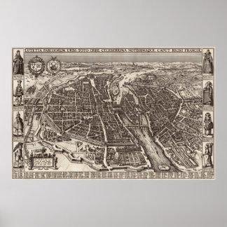 Mapa 1618 de París de Claes Jansz. Visscher Posters