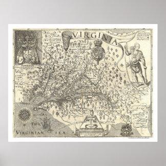 Mapa 1624 de Virginia John Smith Posters