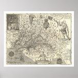Mapa 1624 de Virginia John Smith Póster