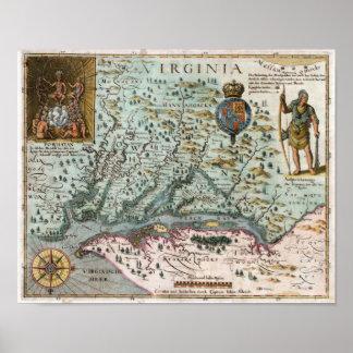 Mapa 1627 de Virginia Póster