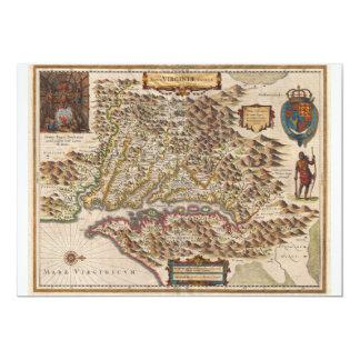Mapa 1630 de Nova Virginiae Tabula Enrique Hondius Invitaciones Personalizada