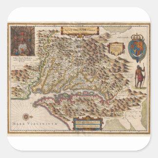 Mapa 1630 de Nova Virginiae Tabula Enrique Hondius Calcomanía Cuadradas