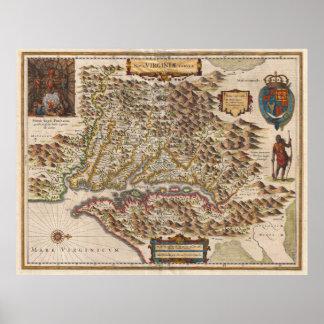 Mapa 1630 de Nova Virginiae Tabula Enrique Hondius Póster