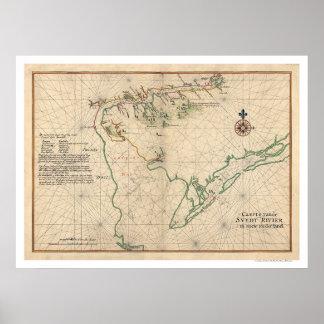 Mapa 1639 de la bahía de Delaware Poster