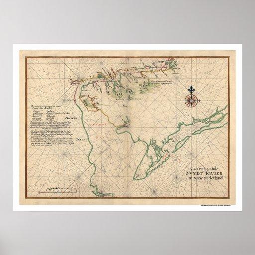 Mapa 1639 de la bahía de Delaware Póster