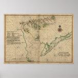 Mapa 1639 de la bahía de Delaware y del río Delawa Posters