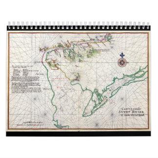 Mapa 1639 de Zwaanendael Swanendael de la bahía de Calendario
