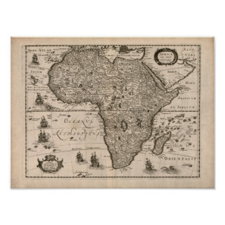 Mapa 1640 de África del vintage Posters