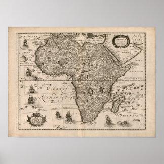 Mapa 1640 de África del vintage Póster