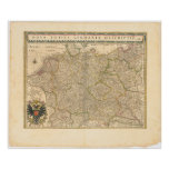 Mapa 1645 de Alemania Poster