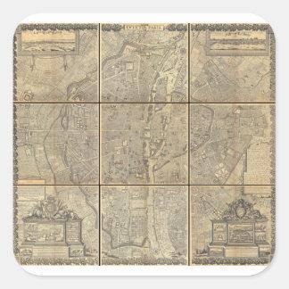 Mapa 1652 del panel de Gomboust 9 de París Calcomanía Cuadradas Personalizadas