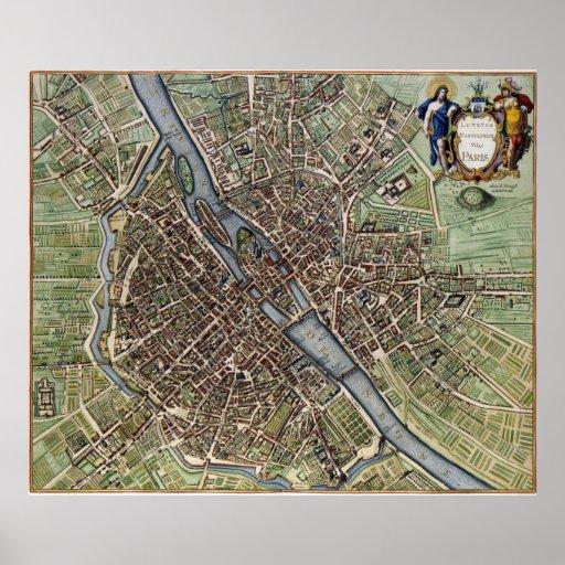 Mapa 1657 de París Póster