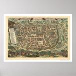Mapa 1660 de Jerusalén Israel Poster