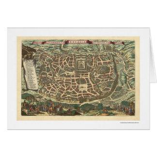 Mapa 1660 de Jerusalén Israel Tarjeta De Felicitación