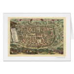 Mapa 1660 de Jerusalén Israel Tarjetón