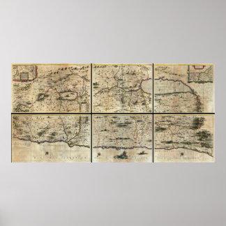 Mapa 1662 de Israel Palestina de la Tierra Santa d Poster