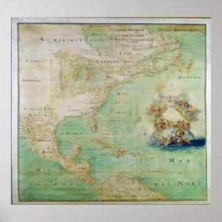Mapa 1681 de América temprana del abad Bernou de C Poster