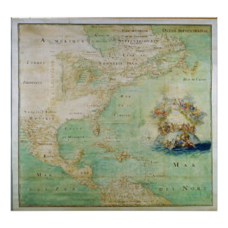 Mapa 1681 de América temprana del abad Bernou de Póster