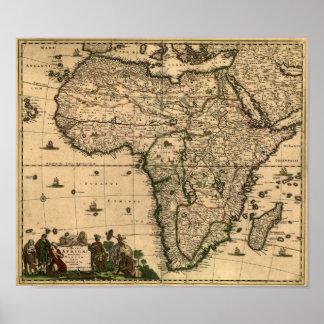 Mapa 1688 de África del vintage Poster