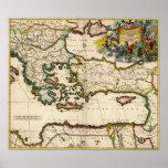 Mapa 1690 de mediterráneo del este impresiones