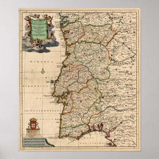 Mapa 1690 de Portugal Póster
